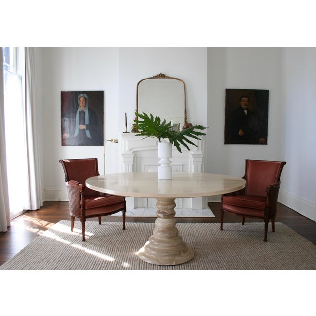 Modern Amelia Round Wooden Dining Table For Sale In New Orleans - Image 6 of 8