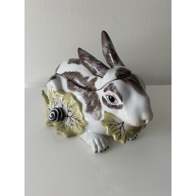 Elegant Chelsea House hand painted rabbit. Top is removable lid, can serve as a bowl or dish. Colors are so vibrant and...