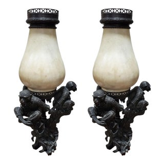 Theodore Alexander Monkey Lamps - A Pair For Sale