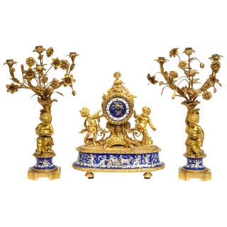 Exquisite French Ormolu Bronze and Blue Porcelain Mounted Three-Piece Clock Set For Sale