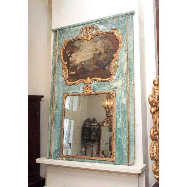 Giltwood Regence Trumeau with a Landscape Painting with Birds For Sale - Image 7 of 8