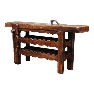 19th Century French Oak Carpenter Press Table With 18 Bottles Storage Rack For Sale