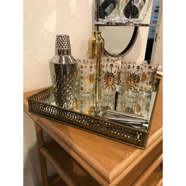 Mid Century Modern McGuire Bamboo, Lamanent & Brass Expandable Bar / Server / Buffet - Image 5 of 10