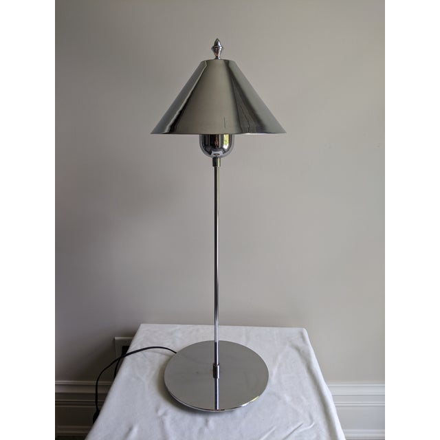 Contemporary 1980s Postmodern Sonneman Style Polished Chrome Table Lamp For Sale - Image 3 of 11