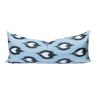 Lumbar Pillow in Black Blue and White Mid 19th Century Woven Ikat With Down Filling For Sale