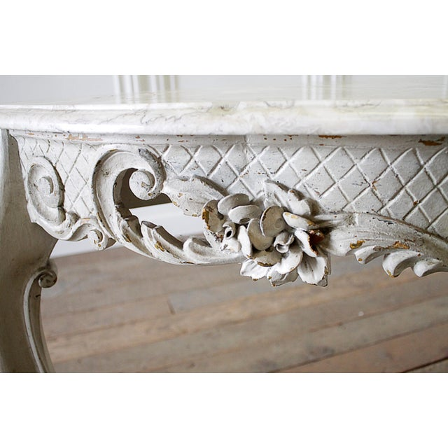 20th Century French Carved Console Table With Marble Top For Sale In Los Angeles - Image 6 of 13