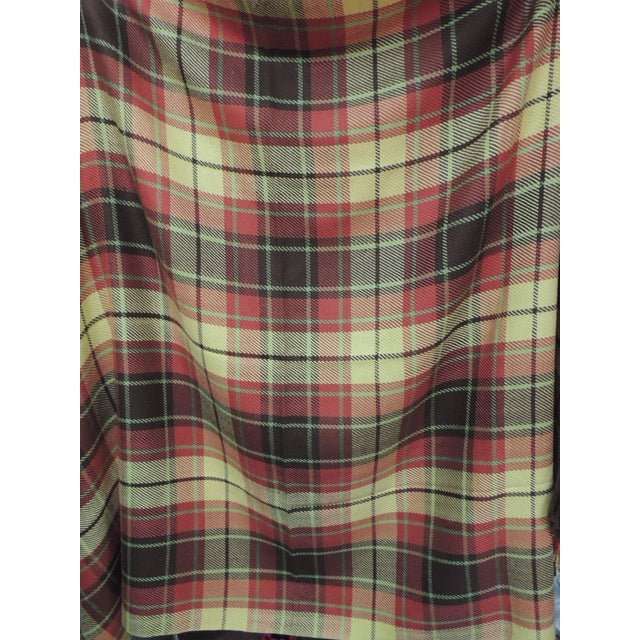 1990s Large Yellow and Red Plaid Throw With Hand-Knotted Fringes For Sale - Image 5 of 6