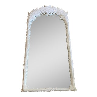 Serge Roche Style Matte White Palm Frond Mirror For Sale