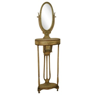 18th C. Handmade & Painted French Vanity & Mirror For Sale