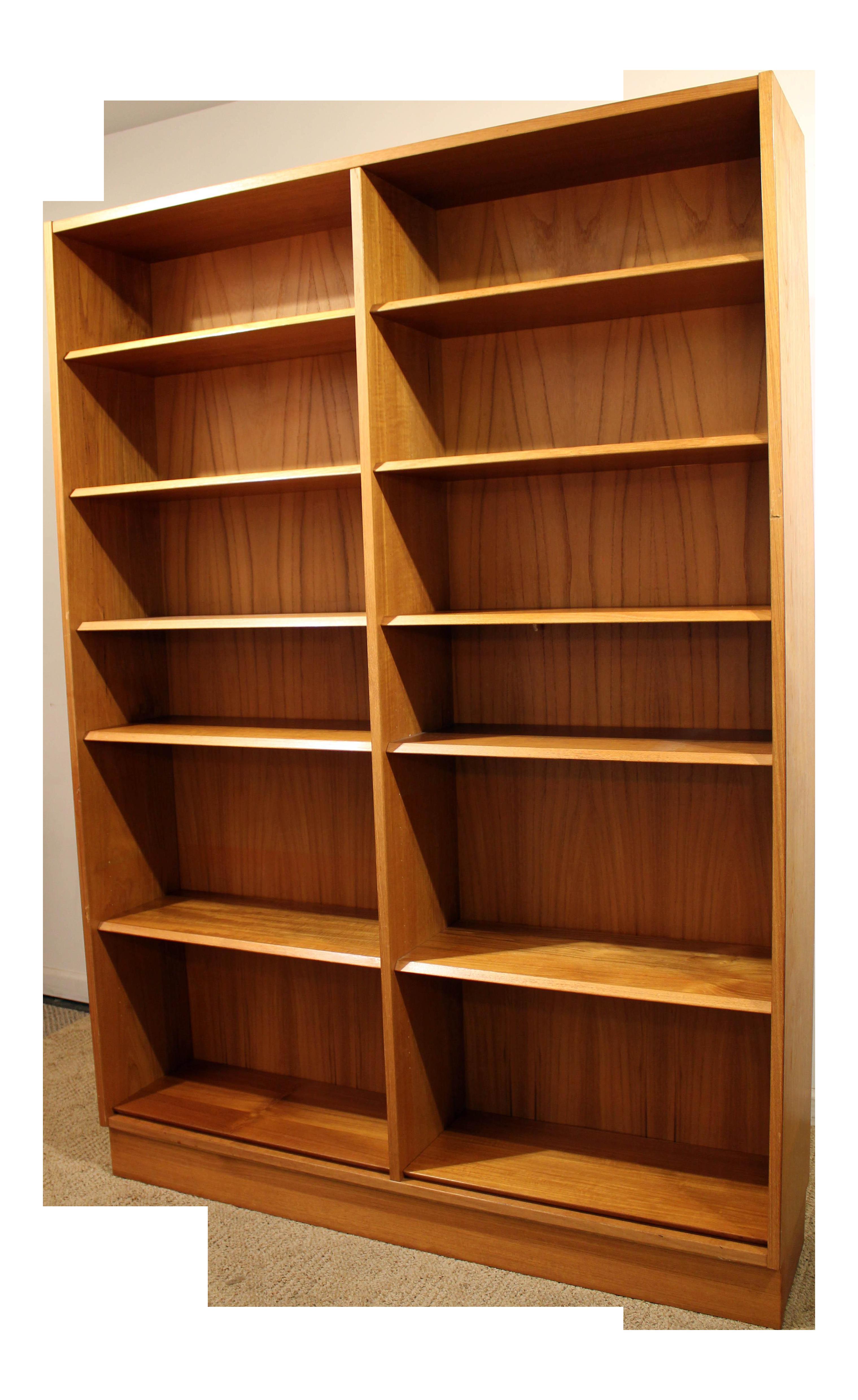 Mid Century Danish Modern Poul Hundevad Teak Double Bookcase