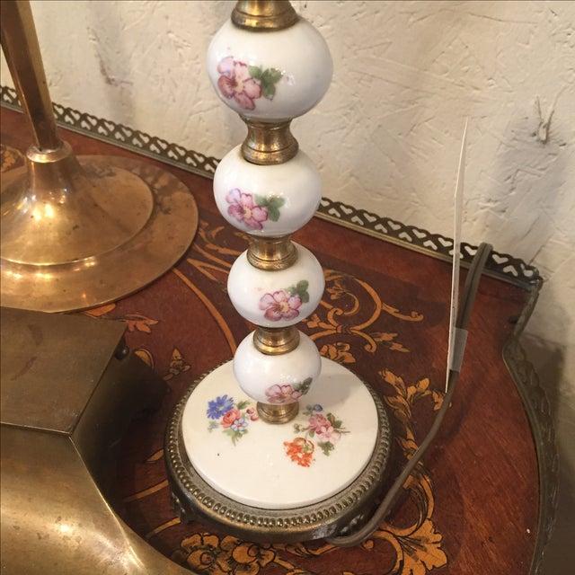 White 1940s Vintage Floral Porcelain Lamp For Sale - Image 8 of 8