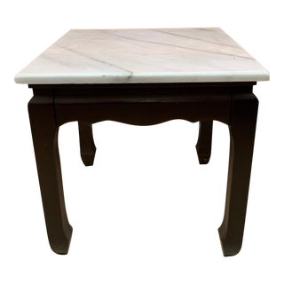 1950s Marble Top Square Accent Table For Sale