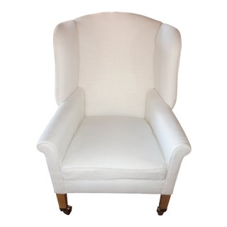 Restoration Hardware Ivory Linen Asher Chair For Sale