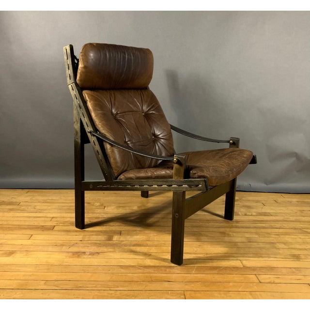 "Mid-Century Modern Torbjørn Afdal ""Hunter"" Chair & Ottoman, Bruskbo Norway 1960s For Sale - Image 3 of 10"