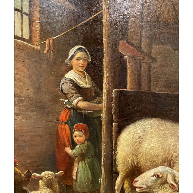 19th Century Dutch Sheep Painting in Carved Gilt Frame Signed Frans Lebret For Sale - Image 9 of 13