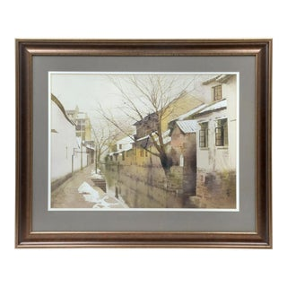 """Mid 20th Century """"The Bridge Ahead Winter in Suchow"""" Watercolor Painting by Zhou Rong Bao, Framed For Sale"""