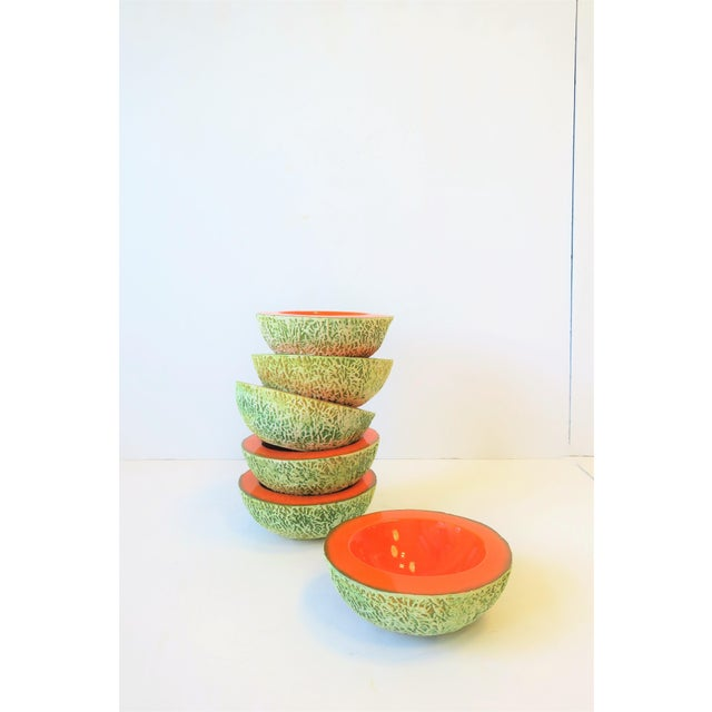 """A set of 6 delicious Italian cantaloupe melon ceramic pottery bowls by designer Ed Langbein, Italy. All are marked """"Ed..."""