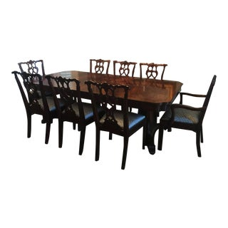 Jonathan Charles Buckingham Antique Mahogany Dining Table & Chairs Set For Sale