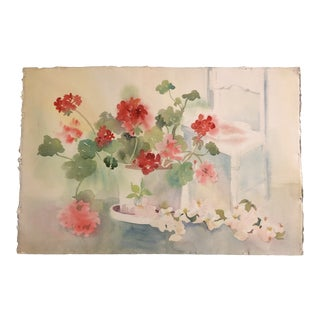 Original Vintage Watercolor Still Life Painting With Geraniums For Sale