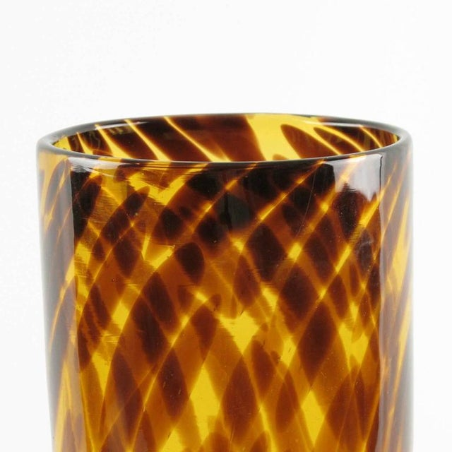 French Empoli for Christian Dior Modernist Tortoiseshell Glass Tumbler Vase For Sale - Image 3 of 6