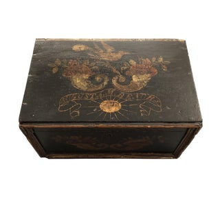 """19th Century Early American """"Augusta M. Beach"""" Painted Box For Sale"""
