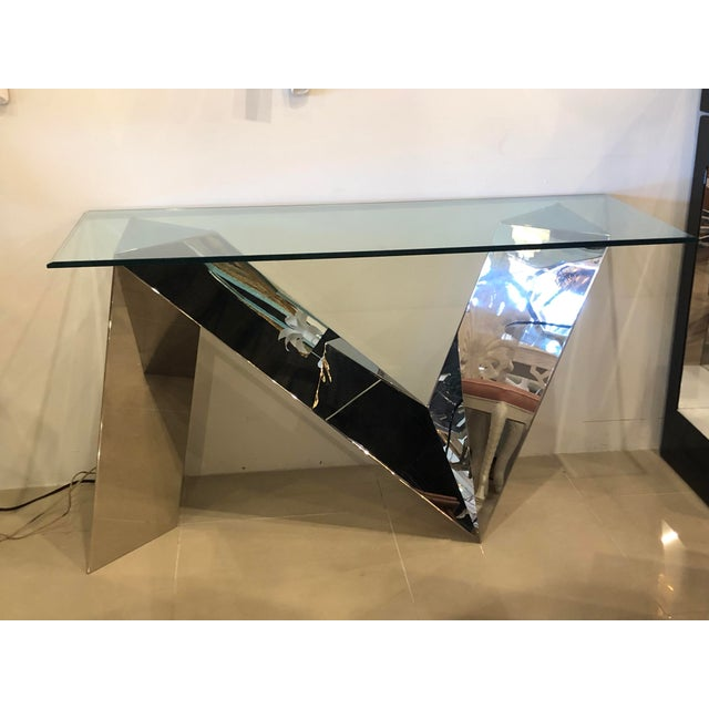 Vintage Modern Polished Stainless Steel Zig Zag Geometric Console Table For Sale In West Palm - Image 6 of 12