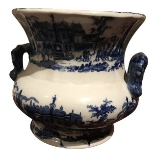 Large Blue and White Cachepot For Sale