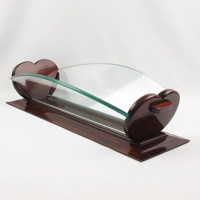 Art Deco 1930s Art Deco Rosewood and Glass Long Centerpiece Bowl Decorative Basket For Sale - Image 3 of 9