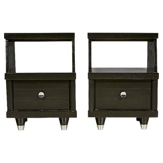 1960s Black Lacquered Nightstands, Pair For Sale