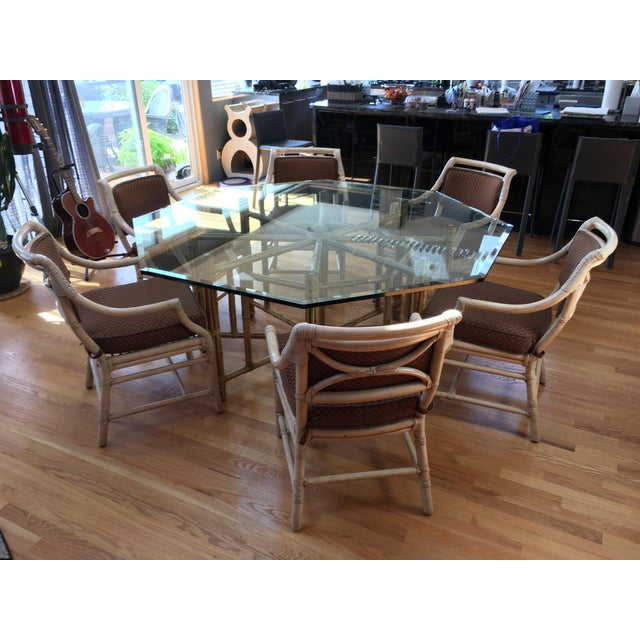 McGuire McGuire Reeded Bamboo Octagonal Dining Set For Sale - Image 4 of 11