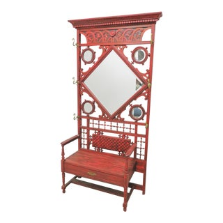 Victorian Carved Stick & Ball Red Hall Rack For Sale