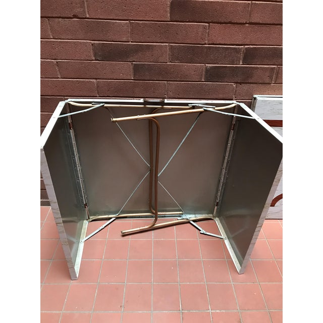 Mid-Century Modern Mid 20th Century Metal Folding Suitcase Table For Sale - Image 3 of 5