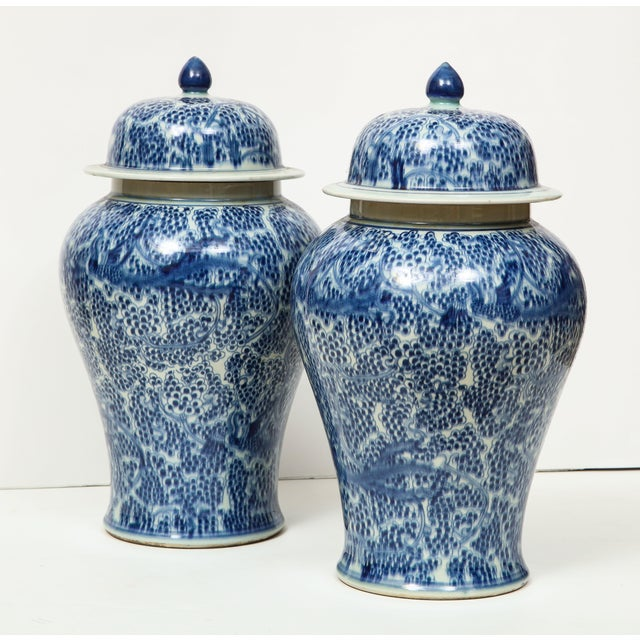 1980s Chinese Blue and White Jars with Lids - A Pair For Sale - Image 5 of 13
