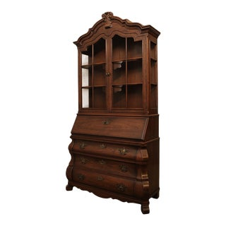 Henredon 'Four Centuries' Collection Oak Bombe Baroque Style Secretary Desk For Sale