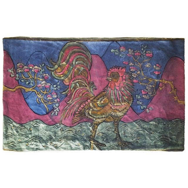 Illustration Rooster Silk Velvet Pillow Cover For Sale - Image 3 of 3