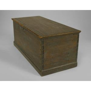 Wood American Country (18/19th Cent) blue painted pine blanket chest/floor trunk For Sale - Image 7 of 8