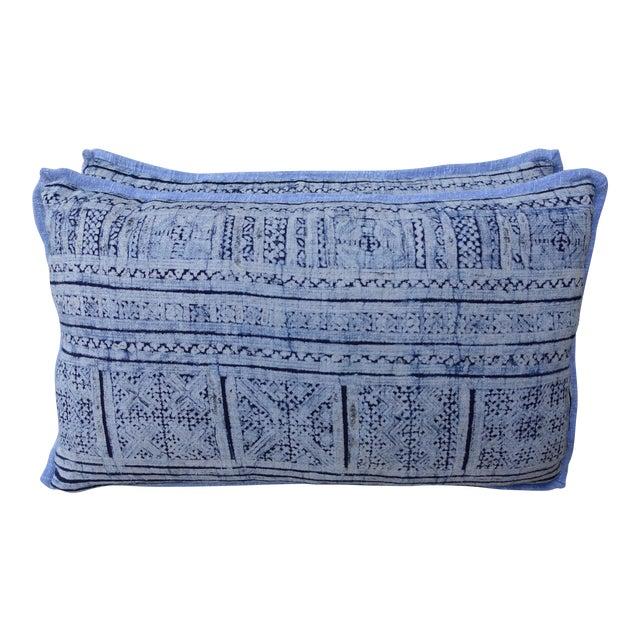 Navy & Light Blue Batik Pillows - A Pair For Sale