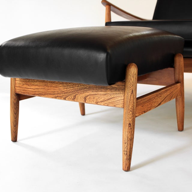 Oak Vintage Milo Baughman Recliner and Ottoman Lounge Chair for James Inc. For Sale - Image 7 of 12