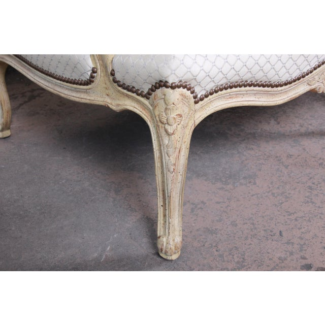 White Baker Furniture French Louis XV Style Carved Loveseat For Sale - Image 8 of 12