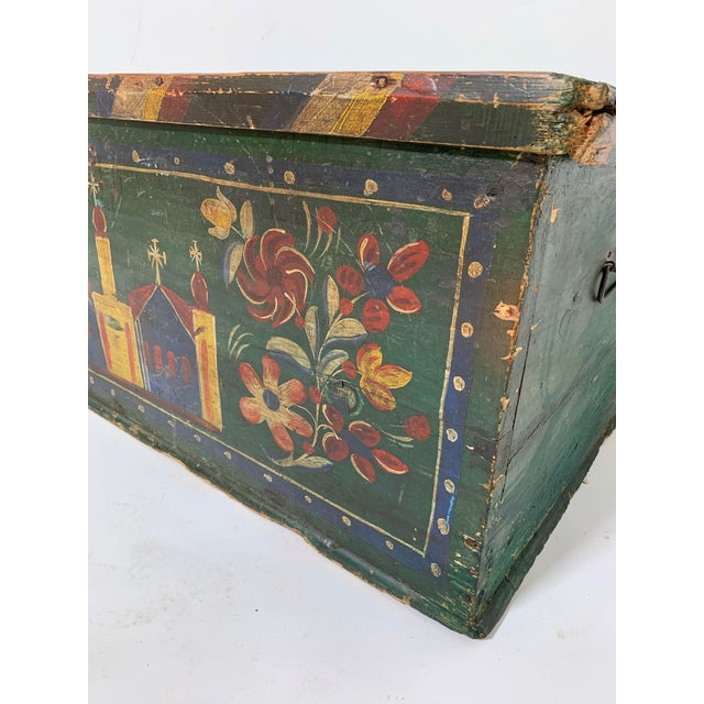 19th C. Eastern European Antique Folk Art Painted Chest For Sale - Image 9 of 13