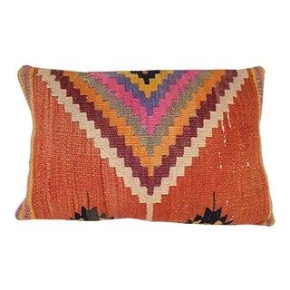 Large Turkish Kilim Pillowcase, Anatolian Pillow Cover, Handmade Tribal Artisanal Lumbar Throw Cushion Cover 16'' X 24'' (40 X 60 Cm) For Sale