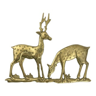 1970s Brass Deer Wall Hanging For Sale