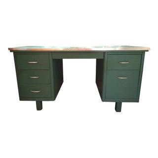 1950s Mid-Century Modern Steel Tanker Desk For Sale