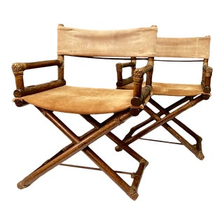 Pair McGuire Directors Chairs, C. 1959-1965 For Sale