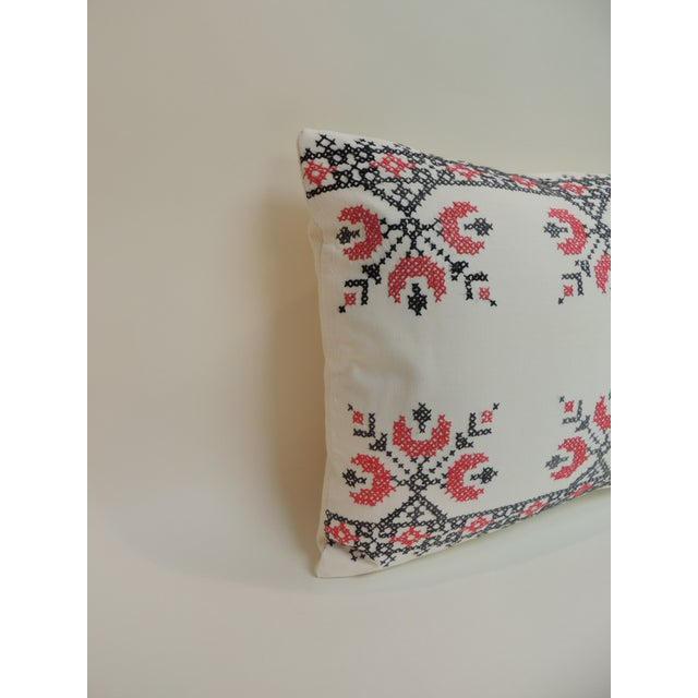 19th century cross-stitch red, black and white German embroidery decorative pillow. 19th century cross-stitch red, black...