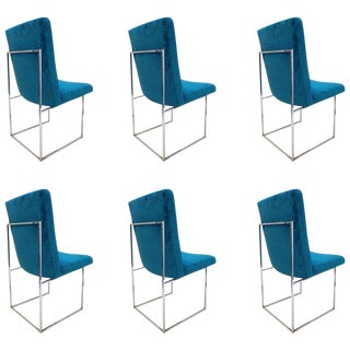 Set of Six Chrome Dining Chairs by Milo Baughman For Sale