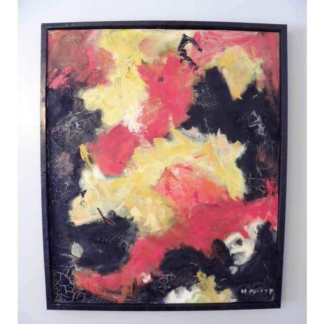 Mid-Century Modern Vibrant Abstract Painting - Image 4 of 6