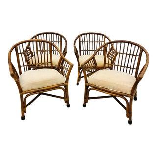 Vintage Set Bent Bamboo & Rattan Barrel Back Chairs - Set of 4 For Sale