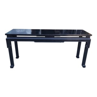 Vintage Chinoiserie Black Lacquer Console Table For Sale