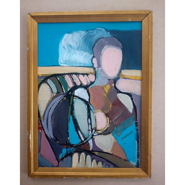 1970s Abstract Cubist Style Portrait Oil Painting, Framed For Sale In Atlanta - Image 6 of 6